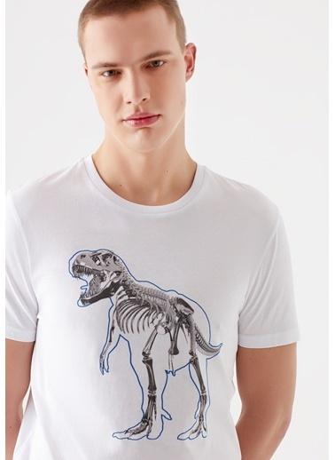 Mavi Dinozor Baskılı  Tişört Beyaz